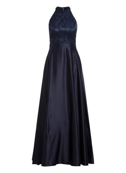 VM VERA MONT Satin-Abendkleid mit Paillettenbesatz, Farbe: DUNKELBLAU (Bild 1)