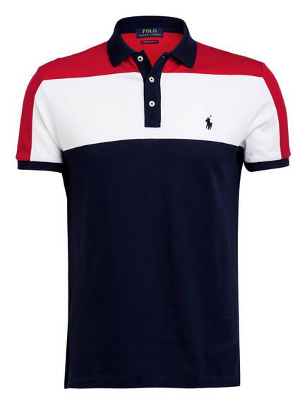 POLO RALPH LAUREN Piqué-Poloshirt Custom Slim Fit, Farbe: DUNKELBLAU/ WEISS/ ROT (Bild 1)