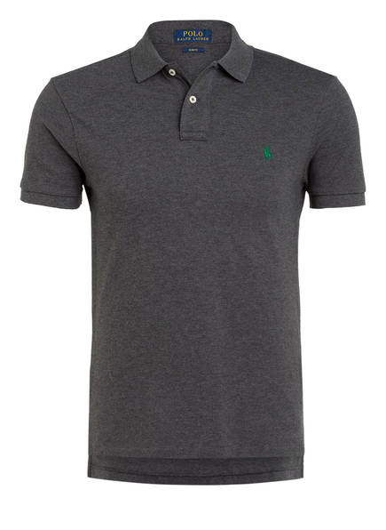 POLO RALPH LAUREN Piqué-Poloshirt Slim Fit, Farbe: DUNKELGRAU MELIERT (Bild 1)