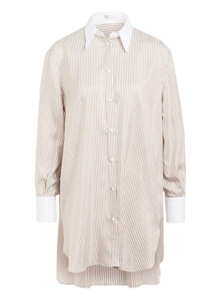 BRUNELLO CUCINELLI Hemdbluse aus Seide, Farbe: WEISS/ TAUPE (Bild 1)