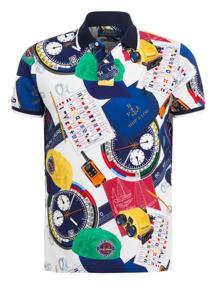 POLO RALPH LAUREN Piqué-Poloshirt Custom Slim Fit, Farbe: BLAU/ WEISS/ GELB/ GRÜN (Bild 1)