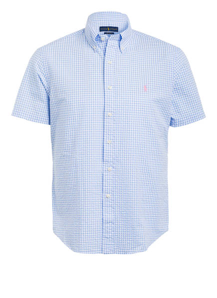 POLO RALPH LAUREN Halbarm-Hemd Custom Fit, Farbe: WEISS/ DUNKELBLAU (Bild 1)
