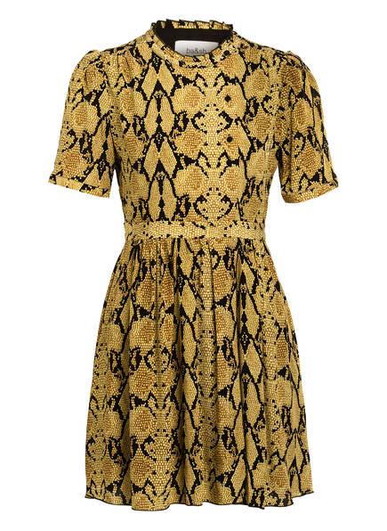 ba&sh Kleid CASCADE mit 3/4-Arm und Volantbesatz, Farbe: DUNKELGELB/ COGNAC/ SCHWARZ (Bild 1)