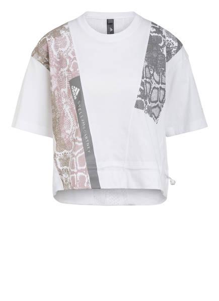 adidas by Stella McCartney T-Shirt mit Mesh-Einsatz, Farbe: WEISS (Bild 1)