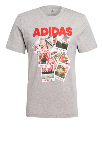 adidas T-Shirt DOODLE PHOTOS, Farbe: GRAU MELIERT (Bild 1)