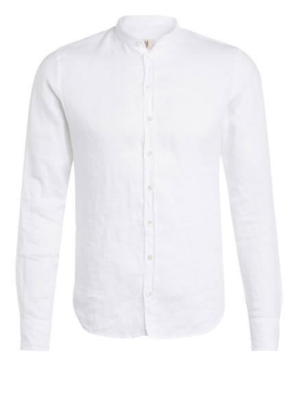 Q1 Manufaktur Leinenhemd RENE Extra Slim Fit mit Stehkragen, Farbe: WEISS (Bild 1)