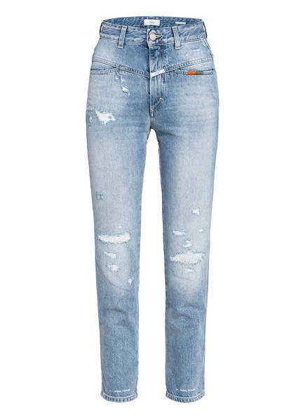 CLOSED Destroyed Jeans PEDAL PUSHER, Farbe: MBL MID BLUE (Bild 1)