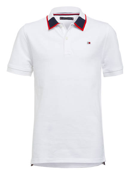 TOMMY HILFIGER Piqué-Poloshirt INTARSIA, Farbe: WEISS (Bild 1)
