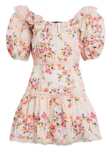 GUESS Off-Shoulder-Kleid MARTINA aus Lochspitze, Farbe: NUDE/ ROSA/ GRÜN (Bild 1)