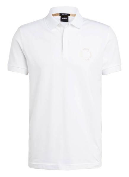 BOSS Piqué-Poloshirt PADDY 8 Regular Fit mit Galonstreifen, Farbe: WEISS/ GOLD (Bild 1)