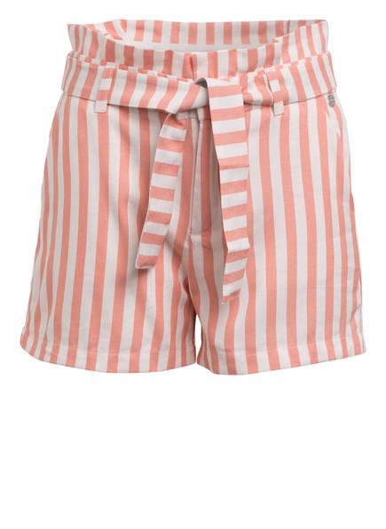 IKKS Paperbag-Shorts, Farbe: WEISS/ LACHS GESTREIFT (Bild 1)