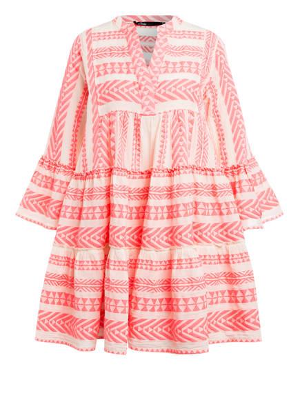 Devotion Kleid ELLA mit 3/4-Arm, Farbe: NEONPINK/ ECRU (Bild 1)