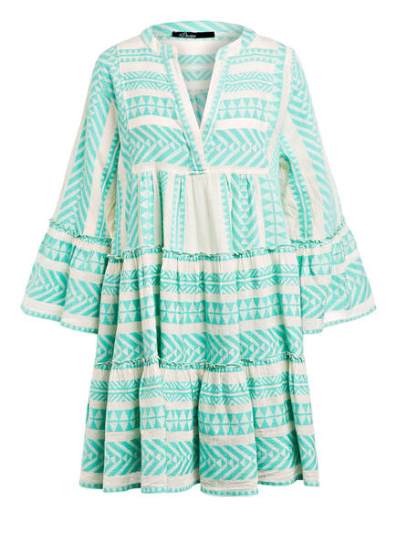 Devotion Kleid ELLA mit 3/4-Arm, Farbe: MINT/ WEISS (Bild 1)
