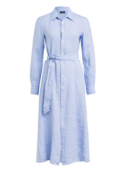 POLO RALPH LAUREN Hemdblusenkleid aus Leinen, Farbe: HELLBLAU MELIERT (Bild 1)