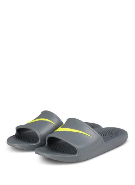Nike Pantoletten KAWA SHOWER, Farbe: GRAU/ NEONGELB (Bild 1)