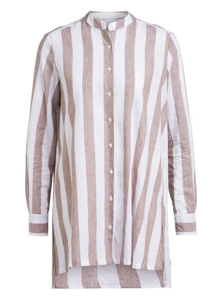 Sophie Oversized-Bluse MACO mit Leinen, Farbe: WEISS/ TAUPE (Bild 1)