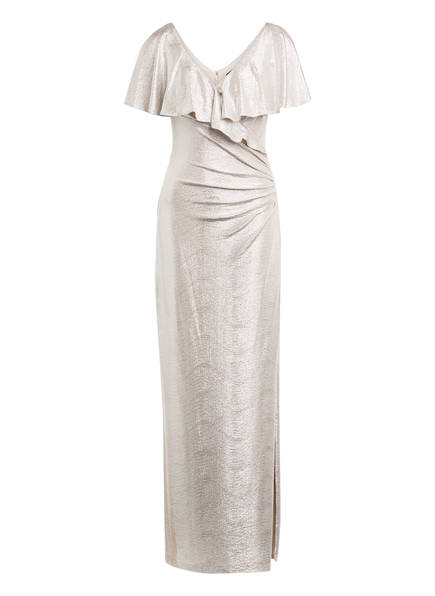 LAUREN RALPH LAUREN Abendkleid mit Volantbesatz , Farbe: HELLBEIGE/ SILBER (Bild 1)
