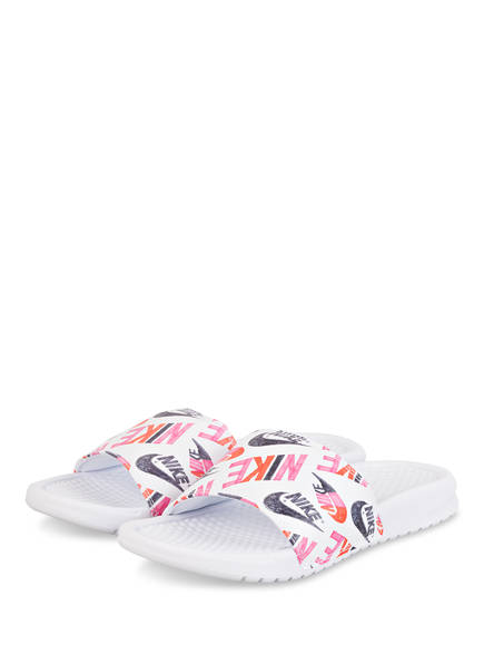 Nike Pantoletten BENASSI JUST DO IT, Farbe: WEISS/ PINK (Bild 1)