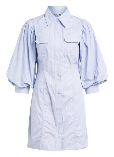 GANNI Hemdblusenkleid mit 3/4-Arm, Farbe: HELLBLAU/ WEISS GESTREIFT (Bild 1)