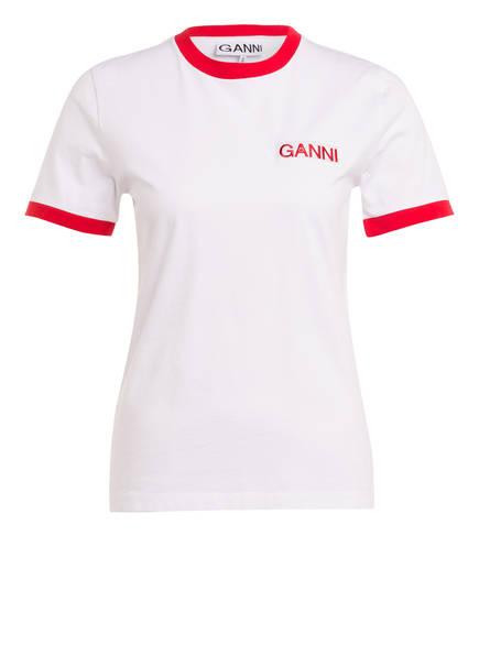GANNI T-Shirt, Farbe: WEISS/ ROT (Bild 1)