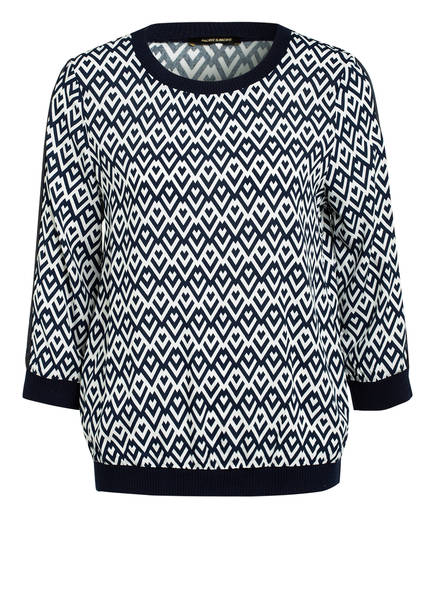MORE & MORE Blusenshirt, Farbe: DUNKELBLAU/ WEISS (Bild 1)