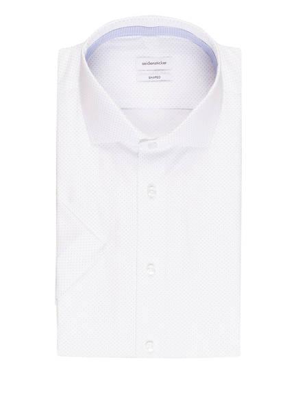 seidensticker Halbarm-Hemd Shaped Fit , Farbe: WEISS/ HELLBLAU GEPUNKTET (Bild 1)