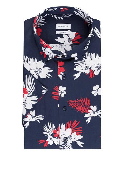 seidensticker Halbarm-Hemd Shaped Fit, Farbe: DUNKELBLAU/ WEISS/ ROT (Bild 1)