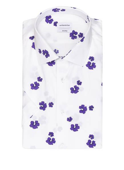 seidensticker Halbarm-Hemd Shaped Fit, Farbe: WEISS/ LILA (Bild 1)