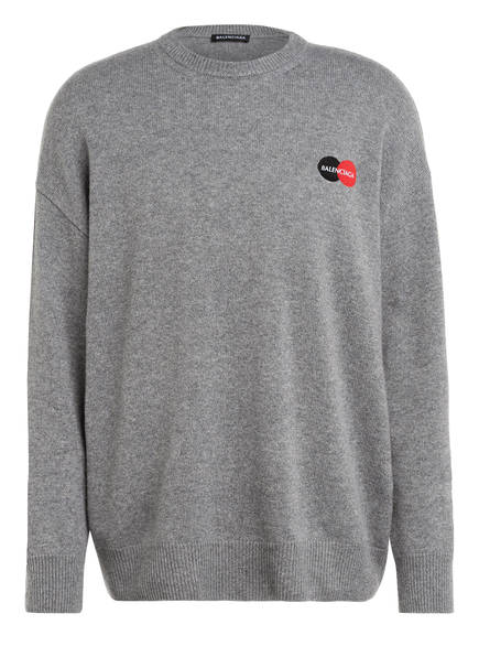 BALENCIAGA Oversized-Pullover aus Cashmere, Farbe: GRAU MELIERT (Bild 1)