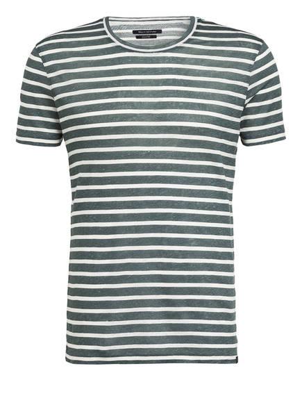 Marc O'Polo T-Shirt aus Leinen, Farbe: GRÜN/ WEISS GESTREIFT (Bild 1)