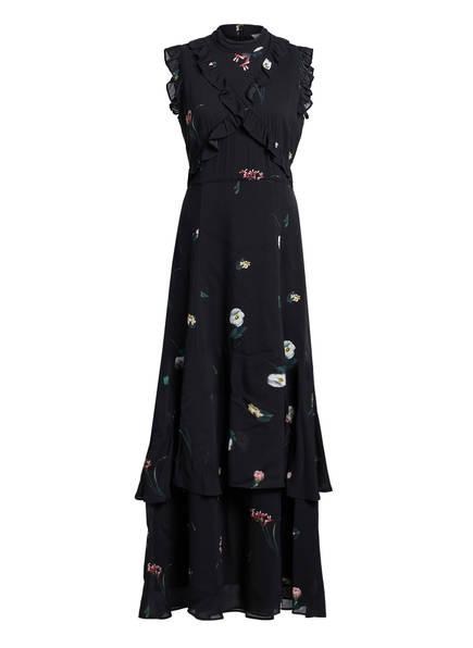 IVY & OAK Kleid mit Volantbesatz, Farbe: SCHWARZ/ DUNKELGRÜN/ PINK (Bild 1)