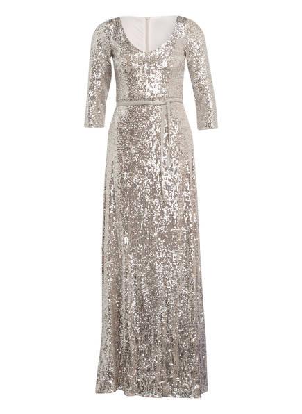 BARBARA SCHWARZER Abendkleider mit Pailletten- und Perlenbesatz, Farbe: BEIGE/ SILBER (Bild 1)