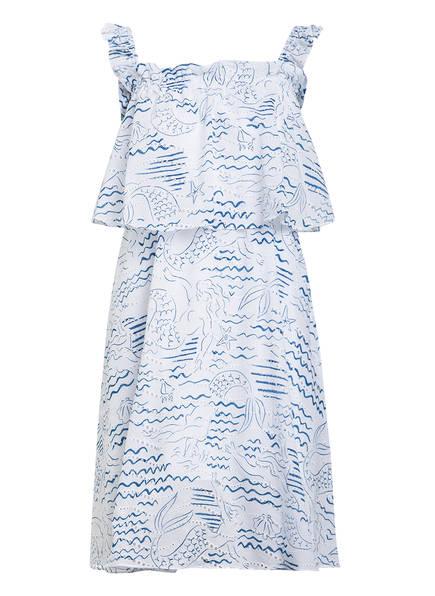 KENZO Kleid mit Volants und Lochstickerei, Farbe: BLAU/ WEISS (Bild 1)