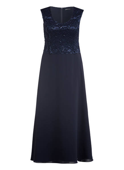 SWING Curve Abendkleid mit Spitzen- und Paillettenbesatz, Farbe: DUNKELBLAU (Bild 1)
