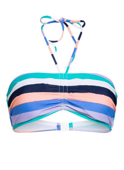 Hot Stuff Bandeau-Bikini-Top BIG STRIPES, Farbe: BLAU/ FLIEDER/ APRICOT (Bild 1)