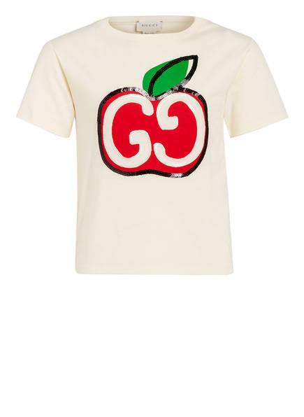 GUCCI T-Shirt mit Pailettenbesatz, Farbe: HELLGELB/ ROT/ SCHWARZ (Bild 1)