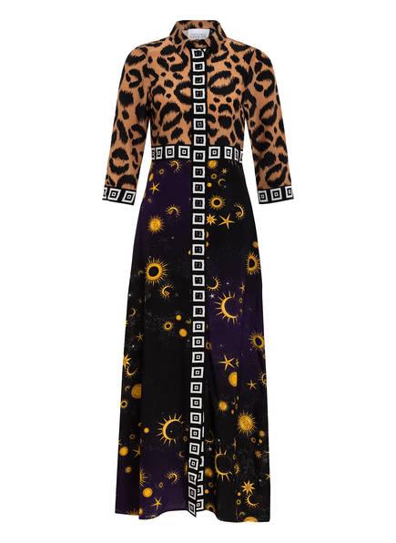 HAYLEY MENZIES Hemdblusenkleid OMBRÉ CROCODILE aus Seide, Farbe: BRAUN/ SCHWARZ/ WEISS (Bild 1)