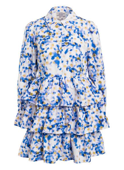 BAUM UND PFERDGARTEN Kleid ANYA mit Rüschenbesatz, Farbe: WEISS/ BLAU/ DUNKELGELB (Bild 1)