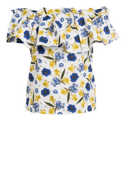 BAUM UND PFERDGARTEN Off-Shoulder-Bluse MONIQ, Farbe: WEISS/ BLAU/ DUNKELGELB (Bild 1)