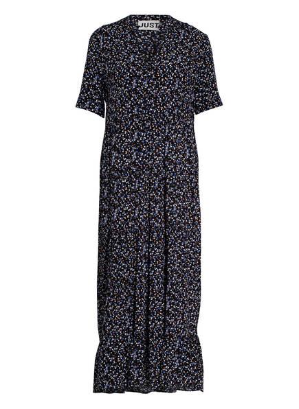 JUST FEMALE Kleid LASSY mit Volantbesatz, Farbe: SCHWARZ/ BLAU (Bild 1)