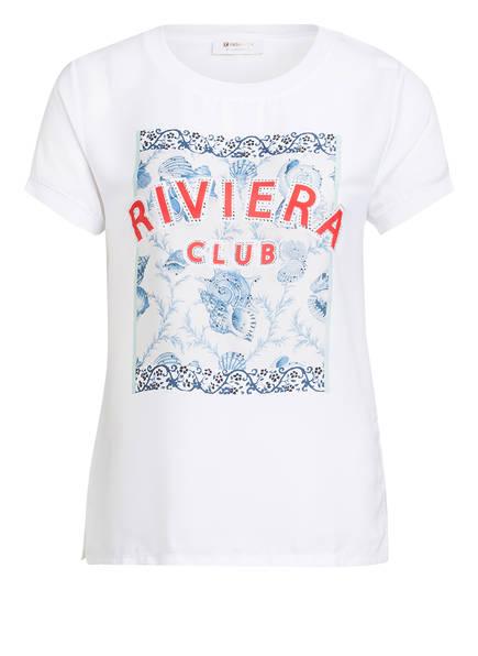 rich&royal T-Shirt im Materialmix mit Schmucksteinbesatz, Farbe: WEISS (Bild 1)