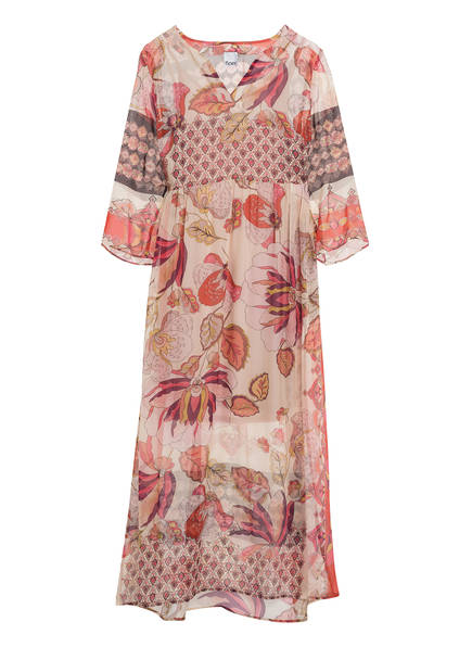 floer Kleid mit 3/4-Arm , Farbe: ECRU/ ROT/ DUNKELLILA (Bild 1)