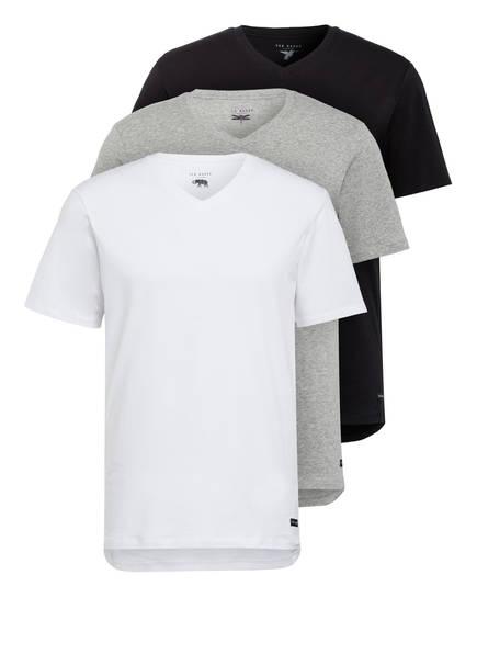 TED BAKER 3er-Pack V-Shirts, Farbe: WEISS/ SCHWARZ/ GRAU (Bild 1)