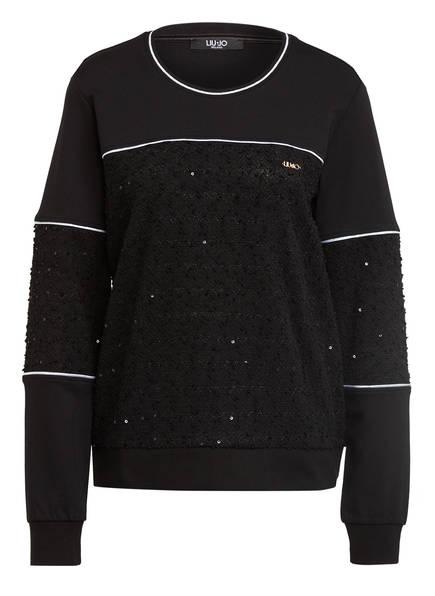 LIU JO Sweatshirt mit Paillettenbesatz, Farbe: SCHWARZ (Bild 1)