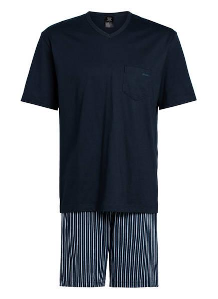 CALIDA Shorty-Schlafanzug RELAX IMPRINT , Farbe: DUNKELBLAU/ HELLBLAU (Bild 1)