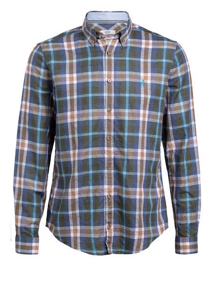 gössl Trachtenhemd mit Leinen Slim Fit , Farbe: BLAU/ KHAKI/ TÜRKIS KARIERT (Bild 1)