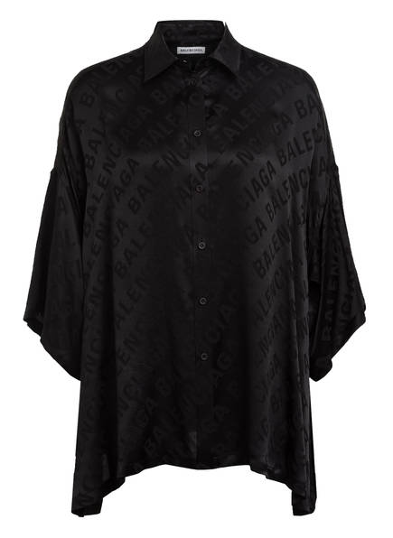 BALENCIAGA Hemdbluse aus Seide mit 3/4-Arm, Farbe: SCHWARZ (Bild 1)