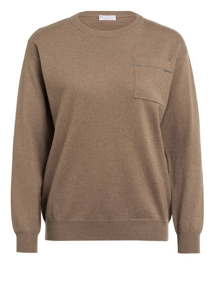 BRUNELLO CUCINELLI Cashmere-Pullover, Farbe: HELLBRAUN (Bild 1)