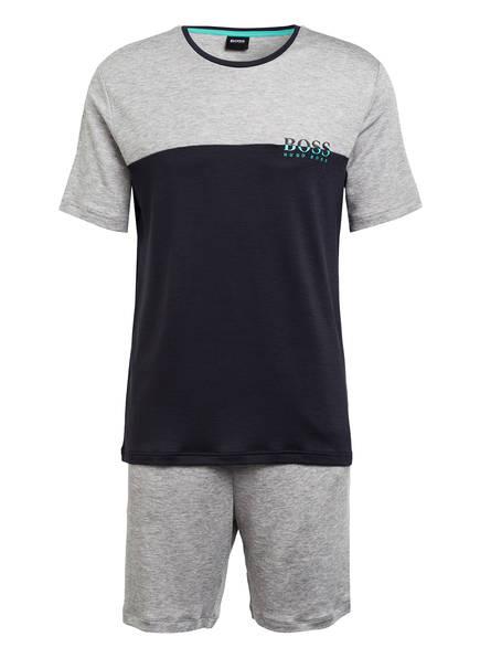 BOSS Shorty-Schlafanzug, Farbe: GRAU/ DUNKELBLAU (Bild 1)