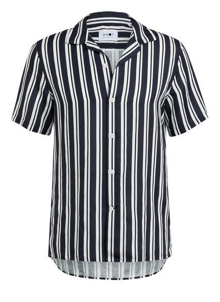 NN07 Kurzarm-Hemd MIYAGI Regular Fit mit Leinen , Farbe: DUNKELBLAU/ WEISS GESTREIFT (Bild 1)